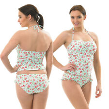 Ladies Aqua Turquoise Tankini Set Swimwear Halterneck Adjustable Strap