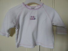 "NEXT BABY GIRLS CUTE WHITE TOP WITH PINK TRIM & ""NO 1 BABY"" 3-6M 100% COTTON"