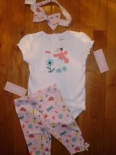 12 18 M Gymboree 3pc LOT Parrot Tropical Capri Pant Baby Girl New Born Gift NWT