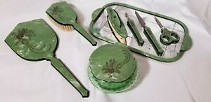 Bakelite Celluloid Green Art Deco Vanity Dresser Set Mirror & Brush Vintage Set