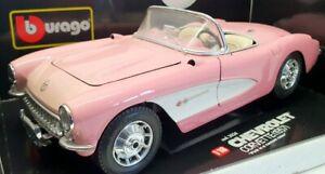 Burago 1/18 Scale Model Car 3024 - 1957 Chevrolet Corvette -  Pink