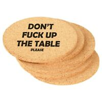 Set of 6 Cork Drink Coasters Don't Fck Up The Table Please Funny