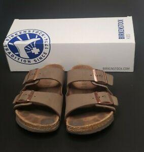 Birkenstock Arizona Sandals Mocha Double Buckle Slides Unisex Kids 34 | US 3