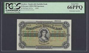 Sweden Sundsvalls Enskilda Bank 10 kronor 1898 PS593bs Litt H Specimen UNC