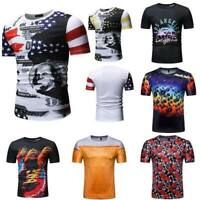 Summer men's short sleeve blouse muscle tee t shirt t shirts casual o neck tops