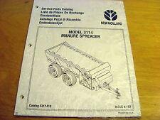 New Holland 3114 Manure Spreader Parts Catalog List Book Manual NH *NEW*