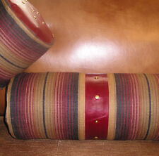 Southwest stripe bolster set 2 with leather trim