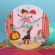 Pink Circus Design Round Glass Wall Clock by Rachel Ellen Collection