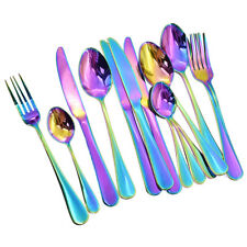 16 Pcs Iridescent Unicorn Cutlery Set Spoon Forks Dining Xmas Party Tableware