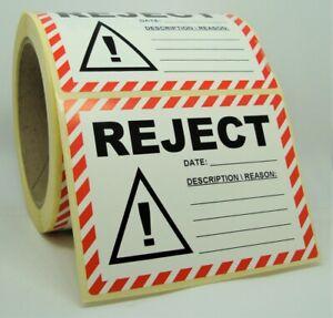 REJECT Labels Stickers MEDIUM 100x75mm Shop Warehouse Refuse Decline 100X75-REJ
