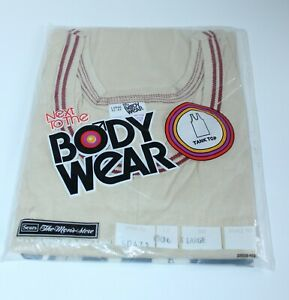 """Vtg 70's NOS Sears Mens Shop """"Next To The Body Wear"""" Tank Top 1970s Size Large L"""