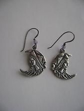 Sterling Silver Greek God Moon With Amethyst Bead Hook Earrings New Old Stock