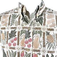 Reyn Spooner Reverse Print Medium Floral Tribal Fruit Hawaiian Aloha Shirt
