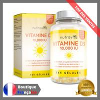 Vitamine D3 10,000 IU 365 Gélules Articulations Os Dents Bonne Santé Immunisé D