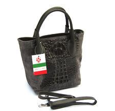 Sac à main cuir véritable decor crocodile NEUF Made in Italy Gris Magnifique