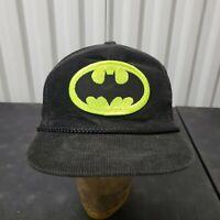 VTG 80's Batman Courdoroy Zipper Strapback Hat Cap Black Patch