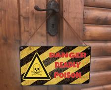Danger Deadly Poison Hanging Novelty Funny scull crossbones warning Gift Sign