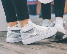 NIKE AIR FORCE 1 FLYKNIT WHITE HI TOP TRAINERS WOMENS SHOES UK SIZE 6 EU 40 Rare