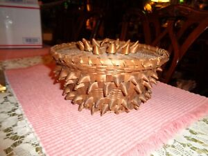 RARE NATIVE AMERICAN MICMAC ANTIQUE  WOVEN, HANDLED 'PORCUPINE' BASKET