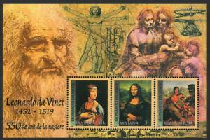Moldova 2002 Art, 550th Birth Anniversary, Leonardo da Vinci Minisheet UNM / MNH