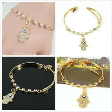 Charming Womens Gold Rhinestone Evil Eye Hamsa Hand Bangle Bracelet Jewelry