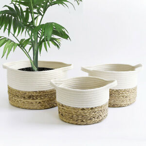UK Seagrass Storage Basket Cotton Rope Storage Bag Flower Plant Straw Pot Basket