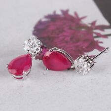 EXCELLENT STYLE ruby Artistic Dashing 18k white gold filled  dangle earring