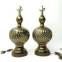 Mid Century Vtg Hollywood Regency Gold Crackle Glaze Swirl Ceramic Lamps Pair