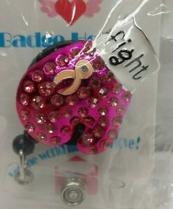 Retractable ID badge holder reel Rhinestone Pink Boxing Glove FightBreast Cancer