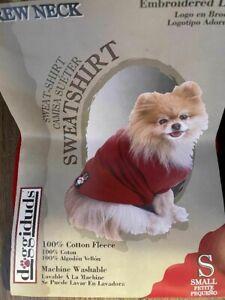 "Vo-Toys Doggiduds Dog 100& Cotton & Fleece Red Crew Neck Sweatshirt 10"" Small"