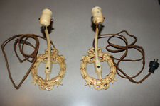 2 Vintage Metal Wall Sconce Lamps Lights Architectural Salvage