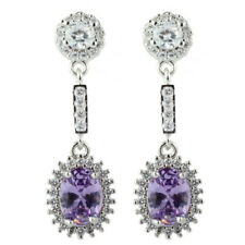 Lady 18K White Gold Plated Cubic Zirconia Oval Purple Amethyst Drop Earrings