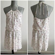 $320 PARKER Size M Medium Atticus Wedgewood White Beaded Short Elasticized Dress