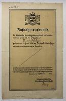 Original Urkunde zur Erlangung der sächsischen Staatsangehörigkeit 1911 sf