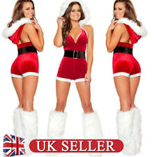 UK Women Sexy Babydoll Christmas Santa Claus Corset Bodysuit Fancy Dress Outfits