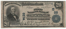 1902 PB $20 FIRST NATIONAL BANKNOTE NEW YORK NY CIRCULATED VERY FINE VF (641)