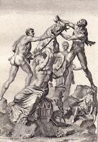 Gravure XVIIIe Taureau De Farnèse Farnese Bull Toro Farnese Toro Farnesio 1780