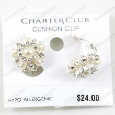 CLIP ON cream IVORY PEARL&CRYSTAL EARRINGS glass silver rhinestone RETRO CLIPS