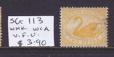 W.A.: 2d Yellow Swan Sg 113 Wmk W. Cr. A. V.F.Used.