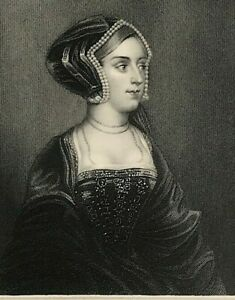 Portrait of Anne Bullen OB 1536 After Original by Holbein steel engraved print