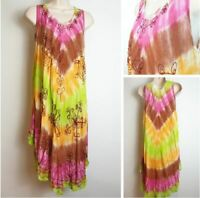 Sleeveless Fairtrade Ethnic Lagenlook Boho Festival Tie Dye Dress 10,12,14