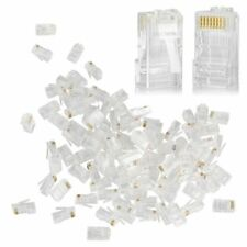 Lot 100Pcs RJ45 Network Cable Modular Plug CAT6 8P8C Gold Ethernet Connector End