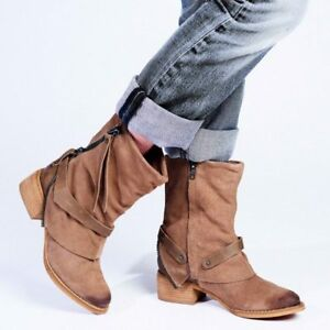 Womens Ladies Moto Styling Brown Leather Suede Ankle Boot, UK Size 4 5 6 7 8