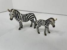 Schleich Zebra Stallion & Foal with Giraffe Retired 2008 Animal Figures Vgc
