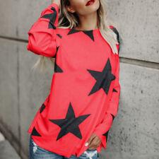Autumn Winter Women Long Sleeve T-Shirt O Neck Stars Print Top Loose Shirt S-2XL