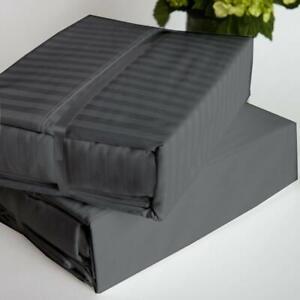 Extra Deep Pocket 4 Piece Bed Sheet Set 1000 TC 100% Cotton Dark Grey Stripe