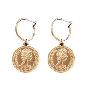 Vintage Tribal Chandelier Portrait Coins Drop Earrings Fashion Women Jewelry
