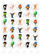 30 HALLOWEEN EDIBLE PAPER CUPCAKE TOPPERS - WITCH, SKELETON, PUMPKIN ....