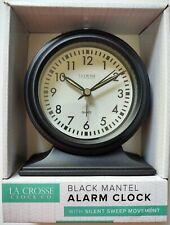 La Crosse Clock Co. Black Mantel Alarm Clock - Silent Sweep Movement - Analog