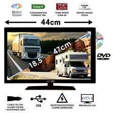 COMBINE TELEVISION DVD pour camping car camion fourgon 12V 24V 47cm - TVWS19DVD